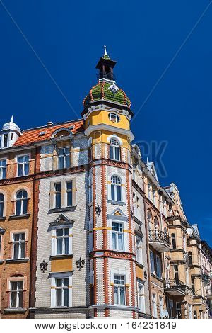 Turret and facade Art Nouveau building in Poznan