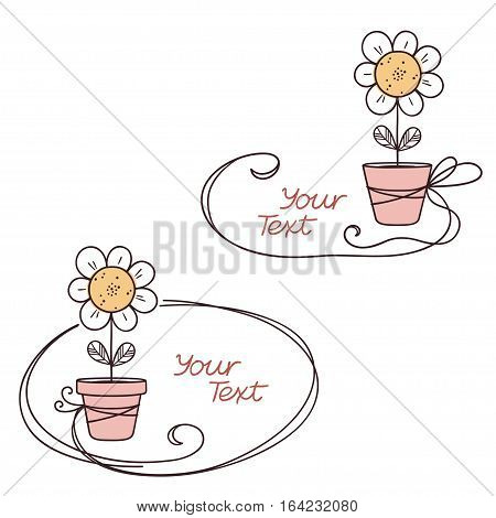 Hand drawn doodle text frames with stylized flower in pot