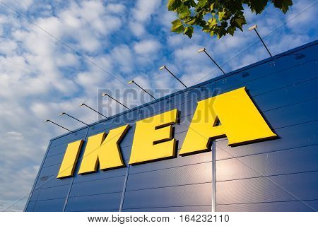 June 22, 2016, Copenhagen, Denmark, IKEA building with logo against blue sky in the late afternoon sunshine. Denmarks largest IKEA warehouse on 37.000 m2.