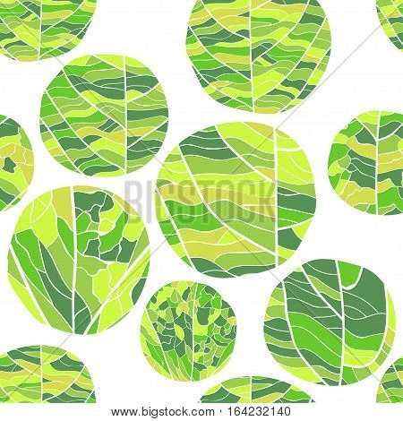 Seamless floral vector pattern. Curve circles of different shades of green color with veins inside on white background.