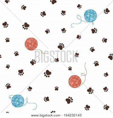 Pet theme seamless pattern with heart shaped animal paw footprints and clew of threads