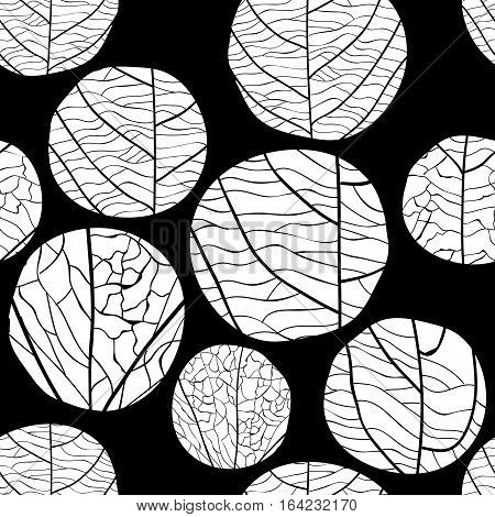 Seamless floral vector pattern. Curve white circles with veins inside on black background.