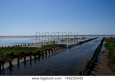 Summer at the wadden sea, Denmark, with poles going into the distance