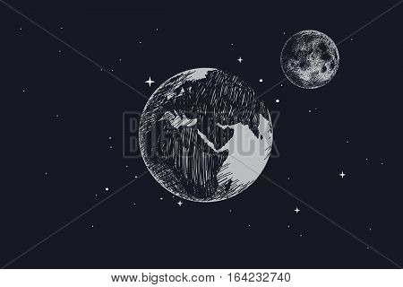 Earth with full moon in outer space.Hand drawn vector illustration