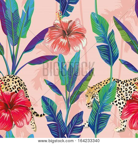 Composition of the tropical green banana leaves red hibiscus flower wild animal leopard pink palm background. Seamless wallpaper pattern