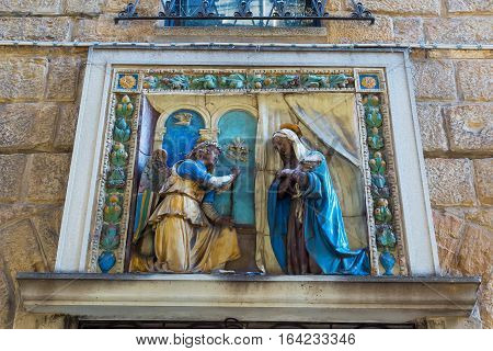 Religious Wall Relief In Florence, Italy