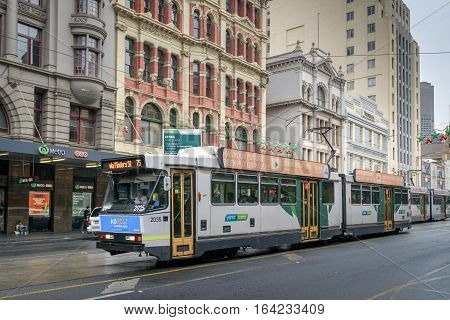 Melbourne Australia - December 27 2016: Melbourne City Tram at Flinders Street. The service is the most famous iconic transportation in the state.