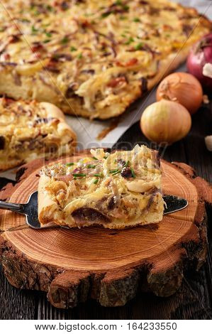 Homemade savory pie with onion, cheese and bacon.