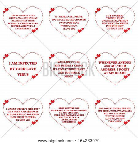 Set Of Funny Love Wishes Quotes Over White Background. Simple Heart Shape Design.