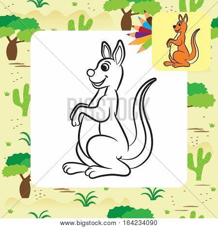 Kangaroo vector illustration. Coloring book. Vector illustration