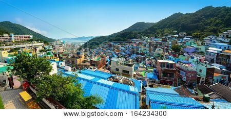 BUSAN, SOUTH KOREA - JUNE 19, 2016 - City panorama of the colorful and artistic Gamcheon Culture Village in Busan, South Korea