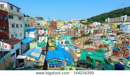 BUSAN, SOUTH KOREA - JUNE 19, 2016 - Brightly painted houses on a hill in Gamcheon Culture Village in Busan, South Korea