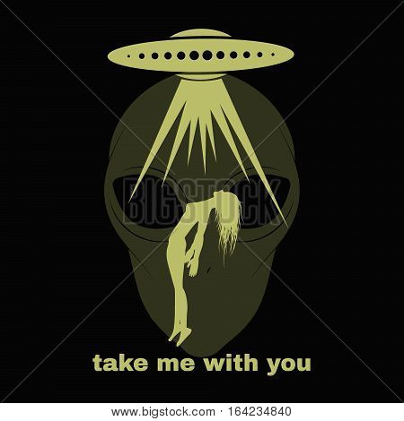 UFO kidnaping a human. Abstract vector illustration