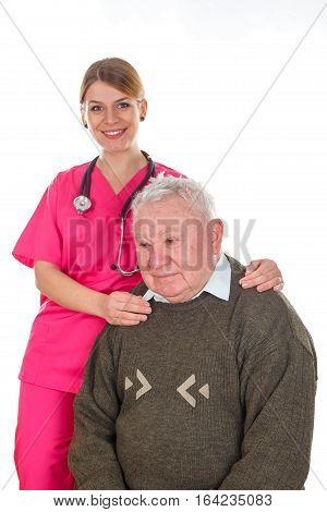 Picture of an old man with prostate problems and his smiling doctor