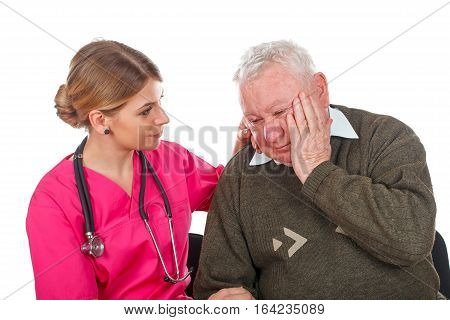 Picture of an old man having a serious migraine - isolated background