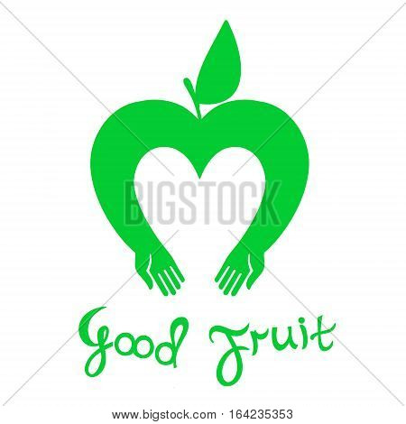 Good fruit. Vector icon Apple with hands complemented the accompanying text is written by hand.