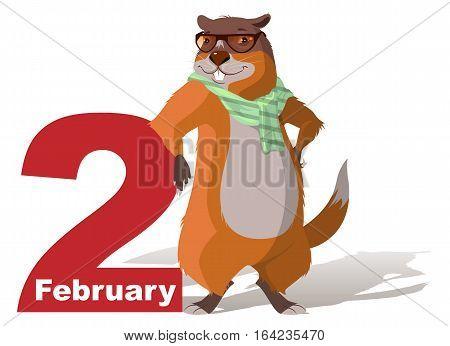 February 2 Groundhog Day. Marmot casts shadow. Vector cartoon illustration
