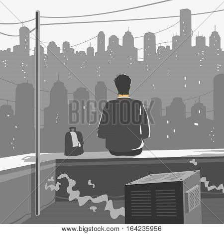 A Man Sitting on Roof of a Skyscraper Vector Illustration eps 8 file format