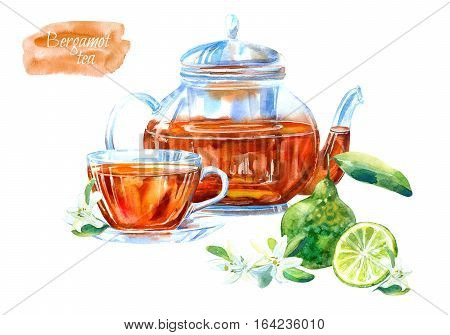 Glass cup and teapot of a bergamot tea. Hot drink image. Watercolor hand drawn illustration.