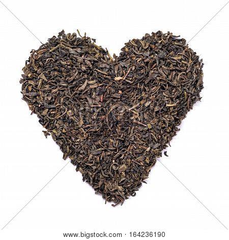Heart shape black tea isolated on white