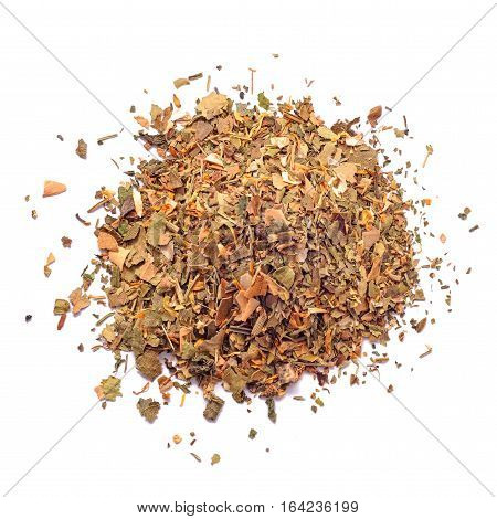 dry herbal tea mix isolated on white