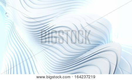 Abstract 3d white wave stripes blue background digital 3d illustration