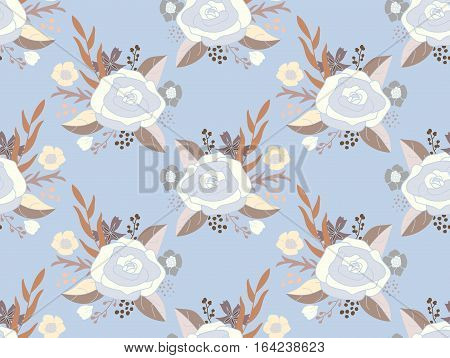 Seamless pattern of flower bouquets. Vintage rose arrangements in pastel blue, white and brown on light blue background.