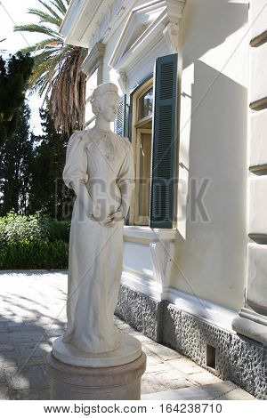 Statue of the Empress of Austria Sisi in the Achilleion palace Corfu Greece.