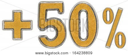 Percent Benefits, Plus 50 Fifty Percent, Numerals Isolated On White Background