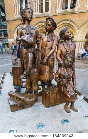 Kindertransport - The Arrival Memorial In London, Uk