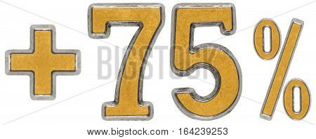 Percent Benefits, Plus 75 Seventy Five Percent, Numerals Isolated On White Background