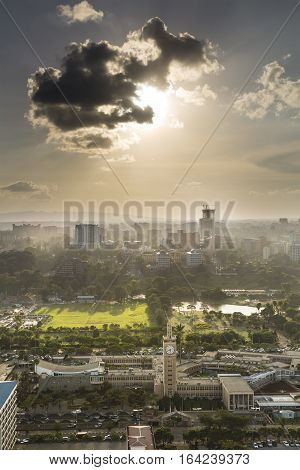 View to Uhuru Park in the business district of Nairobi Kenya in the evening