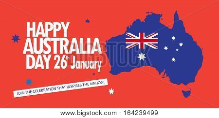 Australia day 26 January inscription poster with Australian map, flag, stars, sunburst on red background. Greeting card design. Vector illustration.