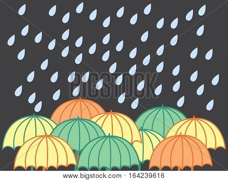 Rainy Day. Vector Illustration With Raindrops And Umbrellas