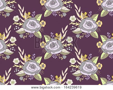 Seamless vector pattern of hand drawn flower bouquets. Vintage rose arrangements in silver gray and olive on purple background.