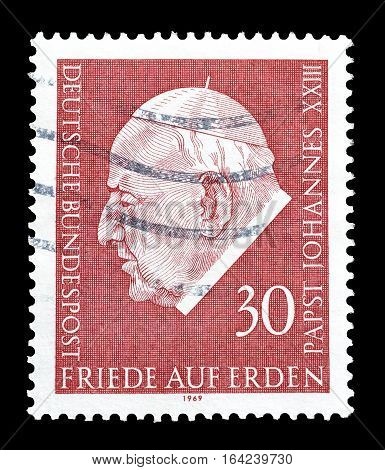GERMANY - CIRCA 1969 : Cancelled postage stamp printed by Germany, that shows Pope Johannes.