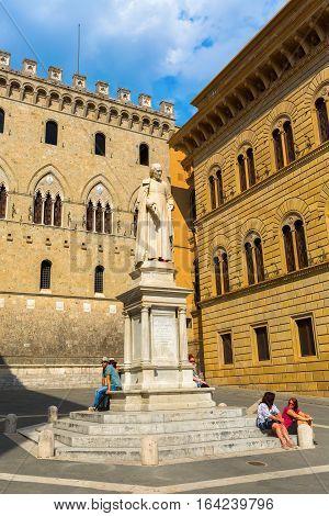 Statue Of Sallustio Bandini In Siena, Italy