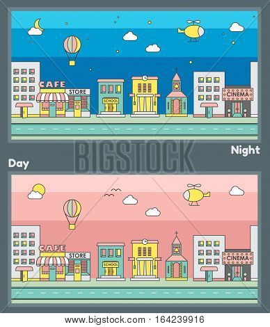 Buildings. Background for game. Cytiscape. Night city and day city