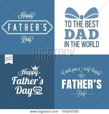 Vector happy father's day with blue and white color tone