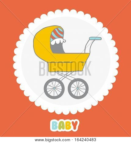 Pram icon or sign. Baby carriage. Card with a baby carriage.