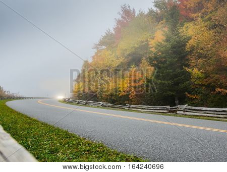 Around the Foggy Corner in Fall Along the Blue Ridge Parkway