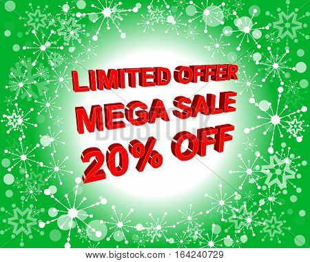 Red And Green Sale Poster With Limited Offer Mega Sale 20 Percent Off Text. Advertising Banner