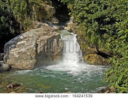 Waterfall in the mountaina in Nepal, Annapurna trekking