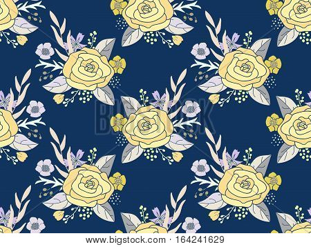 Seamless pattern of flower bouquets. Vintage rose arrangements in golden yellow, gray and green on dark midnight blue background.