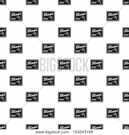 Road sign Miami beach pattern. Simple illustration of road sign Miami beach vector pattern for web