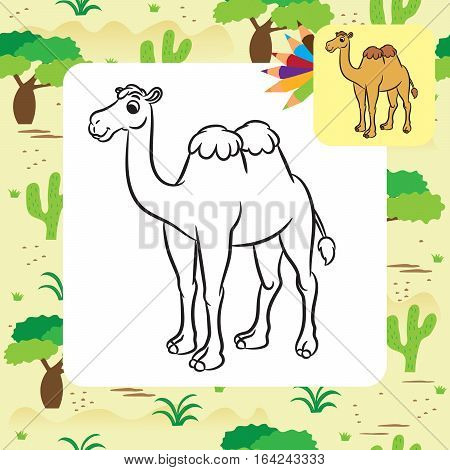 Illustration of cute camel. Coloring page. Vector