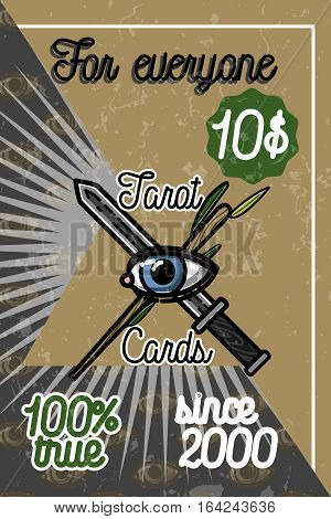 Hand drawn color vintage tarot cards banner with mystic symbols. Vector illustration, EPS 10