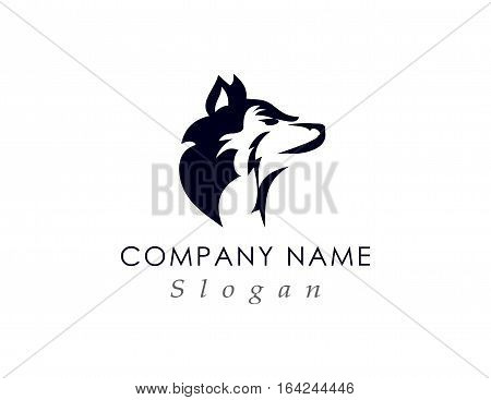 Wolf head modern logo on white bakcground