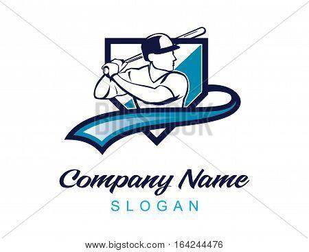 Baseball logo with a palyer inside a shield