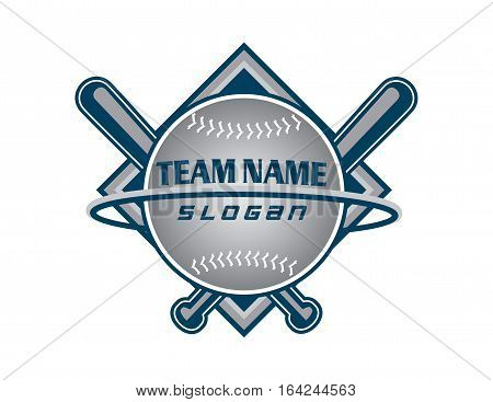 Baseball team grey logo on withe background